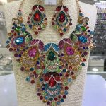6 Colors Amazing Colorful Peacock Wedding Crystal Rhinestone <b>Jewelry</b> Sets African Indian Bridal <b>Necklace</b> Earrings Sets WC036