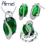Almei 40% off African Beads <b>Jewelry</b> Set Silver Color Blue Necklace Sets Women Rings Zircon Wedding <b>Accessories</b> Earrings T472