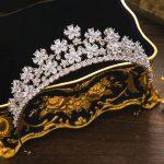 Paved Cubic Zircon Tiara Flower Full Zirconia Crown <b>Wedding</b> Hair Accessories Bridal Ornaments <b>Jewelry</b> CZ Coroa Novia WIGO1245