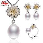 FEIGE 8-9MM Rice-shape White Freshwater Pearl Sets Genuine High-quality 925 Sterling <b>Silver</b> Jewelry Set For Women Pearl Jewelry
