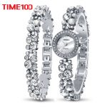 Time100 Women <b>Bracelet</b> Watches Fashion Quartz Watch <b>Silver</b> Diamond Shell Dial Ladies Wrist Watches For Women relogio feminino