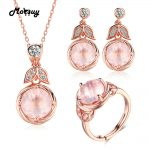 MoBuy Unique Flower 100% S925 Sterling <b>Silver</b> Jewelry Sets For Women Gemstone Rose Quartz Engagement Jewelry For Women V023ENR
