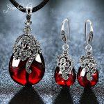 JIASHUNTAI Retro 100% 925 <b>Sterling</b> <b>Silver</b> Pendant Necklac Drop Earrings For Women Vintage Nacklace Stone <b>Jewelry</b> Sets