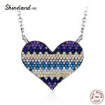 Shineland Heart Love <b>Wedding</b> Engagement Pendant Necklace Colorful Full Cubic Zirconia Beads 925 Sterling Silver <b>Jewelry</b> for Girl