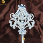 Floral Queen Scepter Wands Crystal Handmade Long Silver Sceptre Prop Beauty Pageant Party Costumes Decoration Accessoires