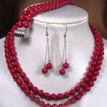 Prett Lovely Women's Wedding 2 rows Tibet red coral necklace earring bracelet set 5.23