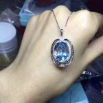 natural big blue topaz pendant S925 <b>silver</b> Natural gemstone Pendant Necklace Retro Elegant round Hollow women party fine <b>jewelry</b>