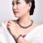 A set 10-11mm natural freshwater peacock green pearl necklace bracelet <b>earring</b>