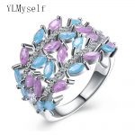 New Fancy color ring aneis Blue Pink zirconia leaf <b>jewelry</b> Luxury <b>Accessories</b> dropshipping Fashion jewellery women rings