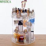 2018NEW <b>Fashion</b> 360-degree Rotating Makeup Organizer Box Brush Holder <b>Jewelry</b> Organizer Case <b>Jewelry</b> Makeup Cosmetic Storage Box