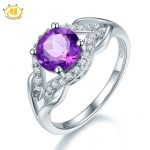 Hutang 1.66ct Genuine Purple Amethyst Infinity Ring Solid 925 Sterling <b>Silver</b> Gemstone Fine <b>Jewelry</b> Rings for Women Best Gift