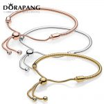 DORAPANG 100% 925 Sterling <b>Silver</b> <b>Bracelet</b> 2018 New Rose Gold 18 K Golden Glitter Instant Slide Shine MOMENTS SLIDING <b>Bracelet</b>