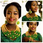 Brand Laanc Big Nigerian Wedding African Beads <b>Jewelry</b> Set Crystal Green and Gold AB Indian Dubai <b>Necklace</b> Jewellery AL242