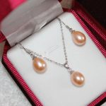 real silver-<b>jewelry</b> Women's Wedding Genuine Freshwater Pearl Pendant Necklace Earrings Silver SET /<b>Jewelry</b> Box