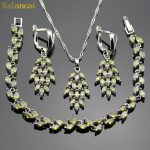 Lan Sliver Planted Jewelry Set Olive Green Leaf shape AAA Zircon Inlay Necklace Pendant Earring <b>Bracelet</b> For Women Free Shipping