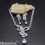 HERMOSA jewelry New Fashion Zircon 925 Sterling <b>Silver</b> Party Accessories bridal wedding jewelry Necklace <b>Earrings</b> set TZ401