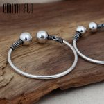 Emith Fla Authentic 925 Sterling Silver Bangle with Ball Opening <b>Fashion</b> <b>Jewelry</b> for Men Unisex Vintage Thai Silver Bracelets