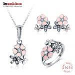 LZESHINE 925 Sterling <b>Silver</b> Fashion Enamel Daisy Wedding Jewelry Sets For Women Flower Necklace/Stud <b>Earrings</b>/Ring Set 0061