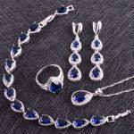 Blue Cubic Zirconia White Rhinestones 925 Sterling <b>Silver</b> Jewelry Sets For Women Earrings/Pendant/Necklace/Rings/<b>Bracelet</b>