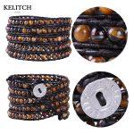 KELITCH <b>Jewelry</b> European And American Style 5 Wrap Bracelet Tiger Eye Beads Bohemian Multilayer Women Beach <b>Handmade</b> Bracelet
