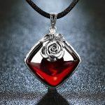 EDI 925 Sterling <b>Silver</b> Garnet Pendant <b>Necklace</b> Retro <b>Silver</b> Flower <b>Necklace</b> for Women