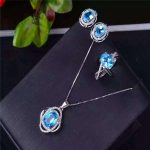 S925 Blue Topaz Sterling <b>silver</b> jewelry inlaid jewelry set natural Ring + Pendant <b>Earrings</b> Set Natural Gemstone