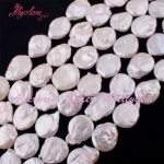 18-20,16-18mm Coin White Freshwater Pearl Beads Natural Stone Beads For DIY Necklace Earring <b>Jewelry</b> <b>Making</b> 14.5″ Free Shipping