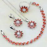 925 <b>Silver</b> Jewelry Set Red Garnet Zircon White Rhinestone Jewelry Sets For Women Wedding Necklace/Earrings/<b>Bracelet</b>/Pendant/Ring