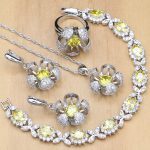 Flowers Yellow Zircon Stones White CZ 925 <b>Silver</b> Jewelry Sets For Women Party Earrings/Pendant/Rings/<b>Bracelet</b>/Necklace Set