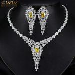 CWWZircons Top Quality Pear Cubic Zirconia Luxury Women <b>Wedding</b> Evening Party Costume <b>Jewelry</b> Set With Yellow Crystal T243