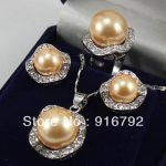 Prett Lovely Women's Wedding 18KGP yellow shell pearl10mm earring14mm ring pendant -silver-<b>jewelry</b>