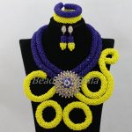 Royal Blue/Yellow Crystal <b>Handmade</b> Braid African Wedding Beads Bridal <b>Jewelry</b> Sets Nigerian Jewellery Set Free Shipping ABF986