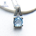 TBJ,Classic pendant <b>necklace</b> with natural sky blue topaz round 8mm checkerboard cut gemstone fine jewelry 925 sterling siver