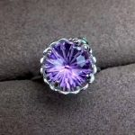 Natural 10*10mm Fireworks amethyst Ring Natural crystal Ring S925 <b>silver</b> elegant round wave Pretty women's party fine <b>jewelry</b>