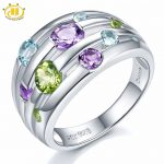 Hutang Engagement Ring Natural Peridot Amethyst Topaz Solid 925 Sterling <b>Silver</b> Colorful Gemstone Fine Fashion Stone <b>Jewelry</b> New