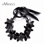 eManco Stylish Romantic Flowers Statement Necklace & pendant Women Black Glass Imitation Stone Resin Ribbon Adjustable <b>Jewelry</b>