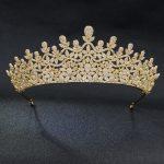 Classic Full 5A CZ Cubic Zirconia Royal <b>Wedding</b> Bridal Gold Tone Tiara Crown Women Girl Party Hair <b>Jewelry</b> Accessories S00032T4
