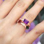 Natural tourmaline Ring Natural garnet amethy Ring 925 <b>sterling</b> <b>silver</b> trendy Luxury Lucky Energy women party fine <b>Jewelry</b>