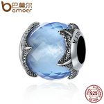 BAMOER Authentic 100% 925 Sterling Silver Starfish Light Blue Crystal Undersea World Beads fit Charm Bracelet DIY <b>jewelry</b> SCC368