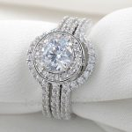 choucong Vintage <b>Jewelry</b> Stone 5A Zircon stone 10KT White Gold Filled 3-in-1 Engagement <b>Wedding</b> Ring Set Sz 5-11 Gift