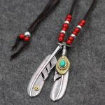 S925 Sterling <b>Silver</b> Takahashi Goro Feather Pendant Bead Deerskin Rope Vintage Thai <b>Silver</b> Indian Style <b>Necklace</b> Men And Women