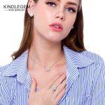 KINDLEGEM Designer Luxury Helix <b>Earrings</b> Necklace Ring Set Fine 925 Sterling <b>Silver</b> Jewelry Glittering Big Stone Female Bijoux
