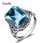 Szjinao Korean Wedding Ring Aquamarine Birthstone Promise Square Design 925 Sterling <b>Silver</b> <b>Jewelry</b> Simple Rings for Girls