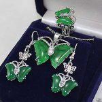Prett Lovely Women's Wedding butterfly green gem stone pendant Necklace earrings ring set For Women>AAA Bridal wid boucle