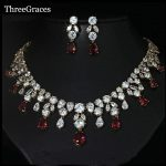 ThreeGraces Dubai Design Gold Color African CZ Stone Pave Hot Red Big Dropping Crystal Bridal Wedding <b>Jewelry</b> Sets JS019