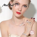 [MeiBaPJ]The European and American Bowkont sets 925 Pure <b>Silver</b> AAA Zircon Necklace&Bracelet&<b>Earrings</b>&Ring Sets for Women Jewely
