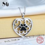 100% 925 sterling silver love heart animal dog footprint pendant chain necklace with enamel diy fashion <b>jewelry</b> <b>making</b> for women
