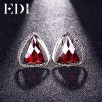 EDI 100% 925 Sterling <b>Silver</b> Retro Garnet Triangle Clip <b>Earrings</b> Female Fine Jewelry