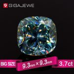 GIGAJEWE Excellent quality Big Size Cutting Green Color 3.7ct Cushion Moissanite Loose Stone Synthetic Beads for <b>jewelry</b> <b>making</b>