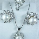 Prett Lovely Women's Wedding Fashion 3colors Shell Pearl Silver Plated Earring Ring Pendant <b>Jewelry</b> Set